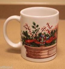 Coffee Cup Mug Christmas Decorations and Santa on Fireplace Mantel B1