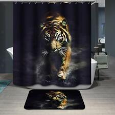 Tiger Print Bathroom Extra Long Fabric Bath Shower Curtain With 12 Hooks