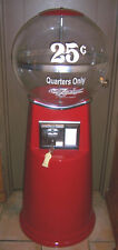 THE DAKOTA ZEPHYR (25 CENTS) QUARTERS ONLY 5 FT RED JUMBO GUMBALL MACHINE W/KEYS