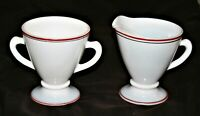 Hazel Atlas Glass Sugar and Creamer Set Platonite White w Red and Black Band