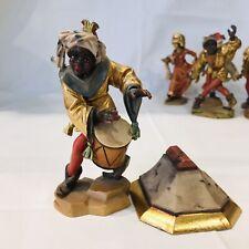 Moriskentänzer Tänzer Afrikaner mit Sockel Holzschnitzerei coloriert vergoldet