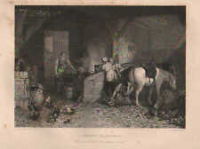 A Country Blacksmith, Forge, Bellows, Horse, Vintage 1860 Antique Art, Print.