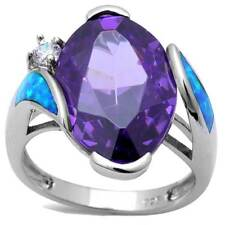 *GORGEOUS*_ Amethyst CZ & Blue Lab-Opal w/Brilliant CZ_925 STERLING SILVER_SZ-8