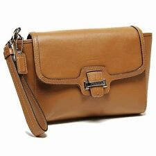 Coach Taylor Leather Flap Clutch NWT BROWN Saddle $168