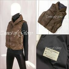 Brunello Cucinelli Women Brown LEATHER Goose DOWN Puffer Jacket Vest Gilet Sz M