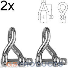 2x 6mm Twisted Pattern D Shackle Stainless Steel (Dee Shackle, Boat Shackle)