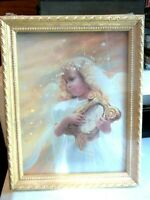 """Donald Zolan HARP SONG Angel 6""""x 8"""" framed offset PRINT MINT CONDITION"""