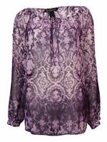 INC International Concepts Women's Keyhole Cold-Shoulder Crepe Top 12, Purple