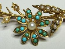 Victorian 15CT Solid Yellow Rose Gold Turquoise Seed Pearl Flower Brooch Pin
