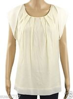New Ex M&S Ladies Cream Short Sleeve Scoop Neck Casual Summer Top Size 10-22