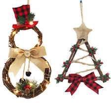 Christmas LED Wreath Xmas Festival Door Wall Hanging Garland Ornament Home Decor