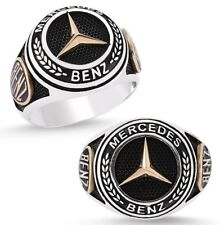 Mercedes Benz Ring Solide 925 K Sterling Silber Herren Ring