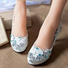 Butterfly White Wedding Bridal Shoes High Heels Mary Evening Party Lace NEW