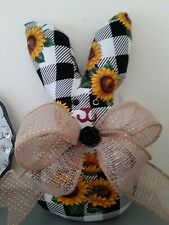 Shabby Valentines Black Check w/ Sunflowers Decorative Bunny Rabbit Ornament