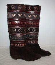 Vintage Italian Boots Women Size 37 (6-7) Boho Ottorino Bossi Riding Brown 682