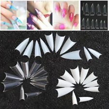 500pcs Acrylic Pointed Stiletto Natural Nail Tips White Clear UV Gel Fake False
