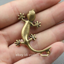 39MM China Bronze Brass Lovable Animal Small Gekko Japonicus Statue Pendant 8g壁虎