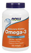 Now Foods Omega-3 1000mg 200 Softgels Fish Oil Joint & Heart Health 180 EPA