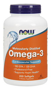Now Foods Omega-3 1000mg 200 Softgels Fish Oil Joint Heart Health 180 EPA 03/22E