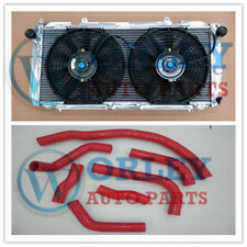 Aluminum Radiator For Toyota MR2 SW20 3SGTE MT 1990-1997 Two Fans Red Hose