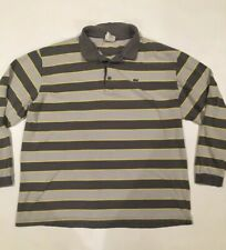 Mens LACOSTE Size 11 Long Sleeve Gray Striped Polo Knit Cotton Shirt Alligator