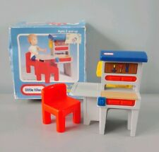 Vintage Little Tikes Dollhouse Workbench Tool Bench Red Chair with Box