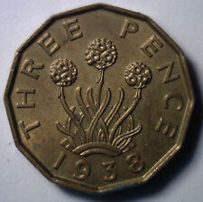 1938 Brass 3 Pence UK Britian Threepence Coin AU English