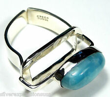 One of A Kind Top Quality AAA Dominican Larimar 925 Sterling Silver Ring size 8