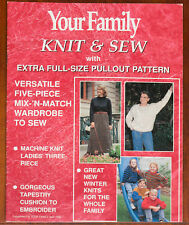 Your Family Knitting Pattern Sewing Family Vintage April 1996 Knit & Sew