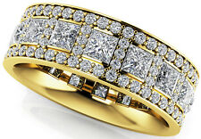 3.09 carat total Princess & Round cut Diamond Ring Eternity 14k Yellow Gold Band