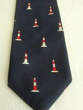 "J Crew Mens Italian Silk Tie Blue/Red White Lighthouses Hand Made 59""Lx3 1/4""W"