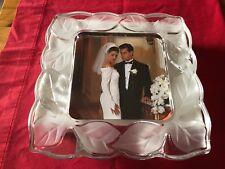 """Fifth Avenue Crystal glassware Leaf 5"""" x 5""""  wedding frame bride groom NEW NIB"""