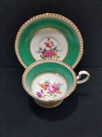 Vintage Aynsley Tea Cup & Saucer Set Green Floral English Fine Bone China
