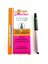 Box of 11 Vintage Magic Marker Black 200 Fine Nylon Tip Permanent Pen NOS