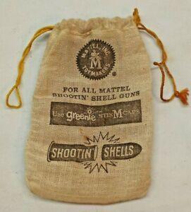 Vintage MATTEL SHOOTIN` SHELLS BULLET BAG USE GREENIE STIK M CAPS