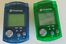 2 NEW LOOSE GENUINE SEGA DREAMCAST VISUAL LCD MEMORY UNIT CARDS 1 GREEN 1 BLUE