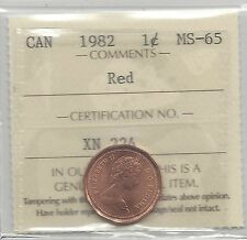 **1982**ICCS Graded Canadian Small One Cent, **MS-65**