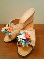 Vtg 60's Medici Leather Cork Wedge Sandals Hand Embellished Made in Italy 8.5 N
