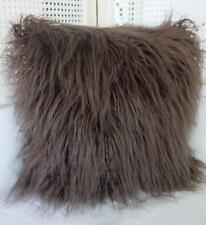Softest Simulated Dark Brown Mongolian Lambswool Cushion Cover 45cm