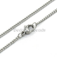 17 1/2 inch Surgical 304 Stainless Steel Thin Silver Twisted Curb Chain Necklace