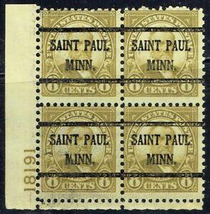 1927 8c GRANT plate blk with Bureau precancel from ST PAUL MN.(640-43) OG NH!