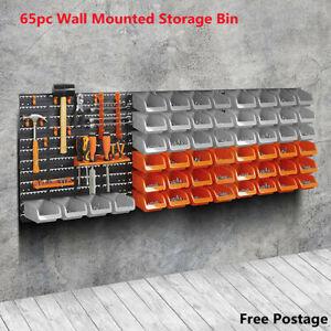 30/65pc Wall Mounted Storage Bin & Board Set For Garage DIY Tools Rack Organizer