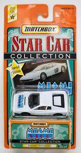 "1999 Matchbox Star Cars ""Miami Vice"" Ferrari Testarossa WHITE / CREASED BLISTER"