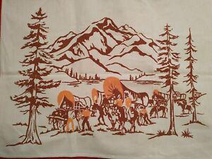 RARE HTF Vtg Card Tablecloth Western Pioneers Conestoga Wagons Pattern Theme