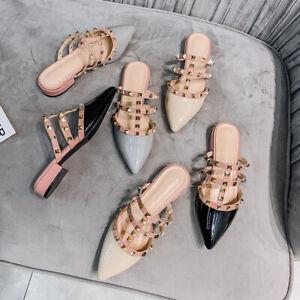 Rock Studs Mules Chunky Heel Flats Pointy Rivets Walking Women Shoes Plus Size