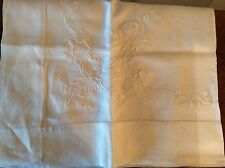 Vintage White Hand Embroidered Tablecloth Lunch Cloth Hem Stitch