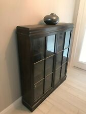 Antique Bookcase, 3 shelf pane glass doors.