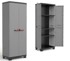 2 Door Plastic Garden Shed Large Garage Storage Box Tall Cabinet Shelves Outdoor