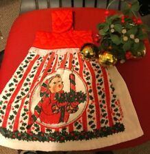 Lot of 2 VINTAGE XMAS ITEMS- 70'S kitchen~bath hand TOWEL AND PLASTIC MISTLETOE