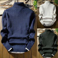 Shirts Knit Pullover Tops High Neck Turtleneck Jumper Men's Sweater Winter Slim